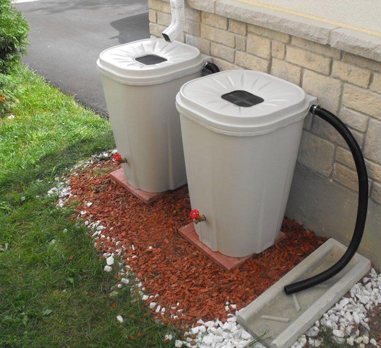 rain barrels water recycling garden